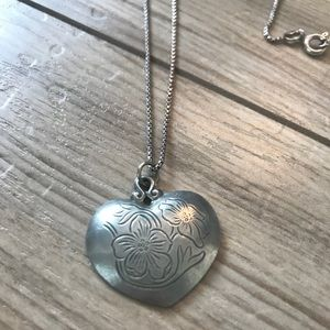 Jewelry - Engraved pewter heart necklace